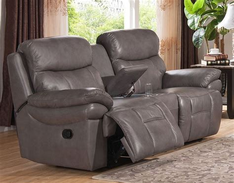 Gray Leather Reclining Loveseat Summerlands Smoke Grey Leather Reclining Loveseat