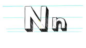 how to draw 3d letters n uppercase n and lowercase n in