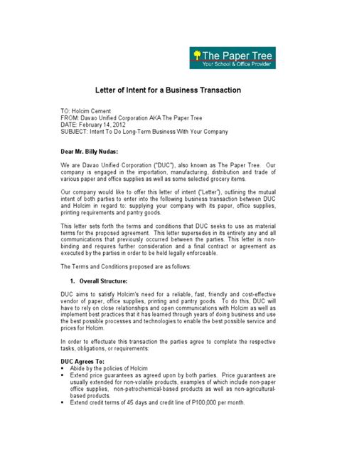 Letter Of Intent For Business Expansion Letter Of Intent For A Business Transaction Financial Transaction