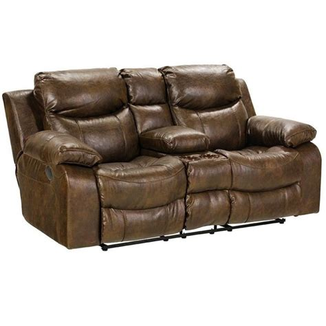Recliners Sofas Catnapper Leather Reclining Console Loveseat In Timber 4319122319302319