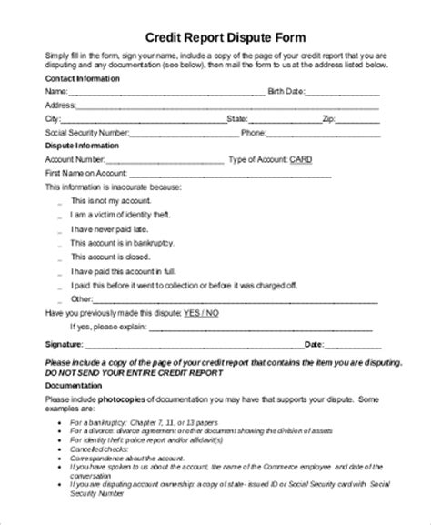 Credit Dispute Form credit dispute form sles 9 free documents in word pdf