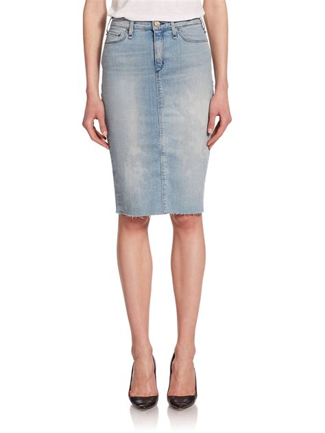 mcguire confessional frayed denim pencil skirt in blue lyst