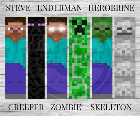 minecraft bookmark template images templates design ideas
