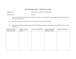 Msw 1 St Year Process Recordings Process Recording Template Social Work