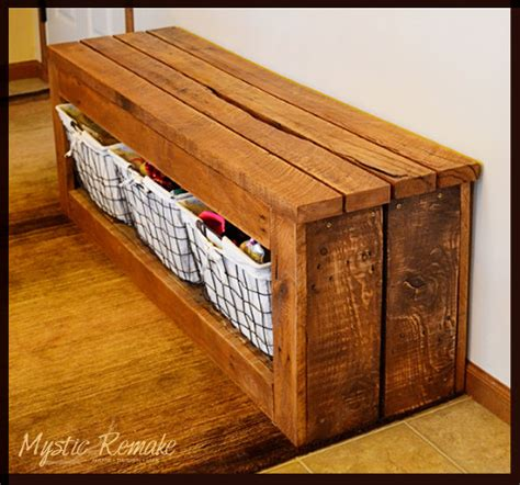 pallet bench with storage hometalk pallet wood storage bench