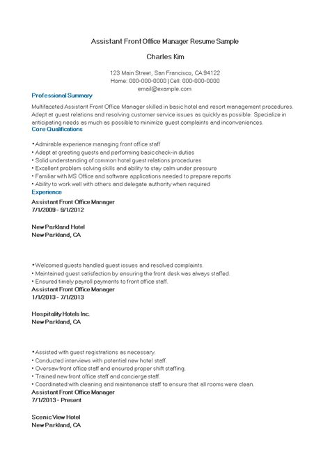 4 5 front office resume free assistant front office manager resume sle