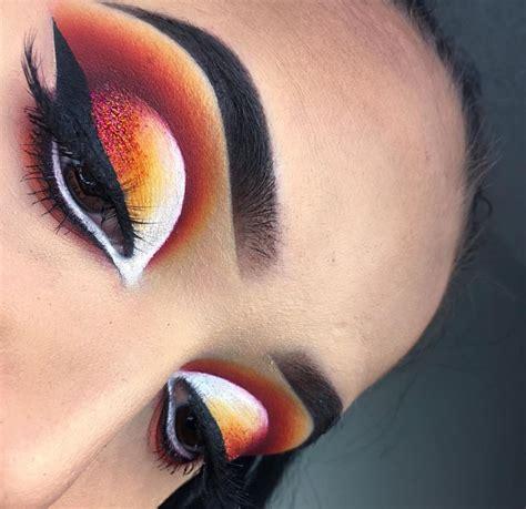 Valege Eye Shadow Brown Yellow bold eye look yellow orange white brown eyeshadow black winged liner instagram brows