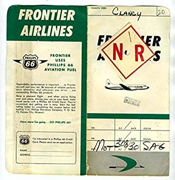 Frontier Airlines Gift Cards - amazon com frontier airlines ticket jacket trip pass luggage tags non revenue 1963