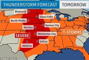 thunder tornadoes due to batter central us from canada to