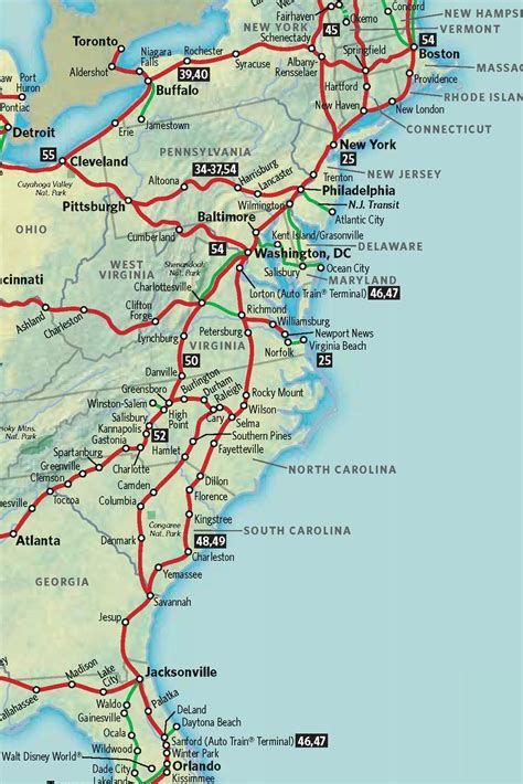 map of the east coast of the usa pre tour of the amtrak tour of the south
