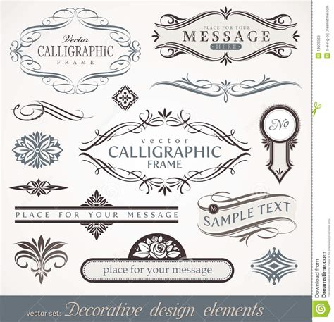 calligraphic design elements vector free calligraphic design elements page decor stock vector