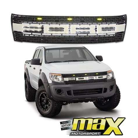 ford grill ford ranger t6 12 on raptor style mesh grille with led