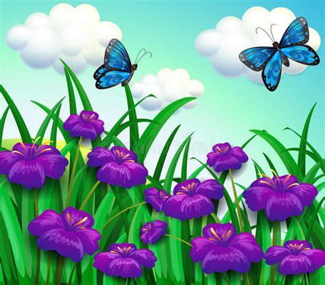 4 flores azules para jard dos mariposas azules en el jard 237 n con las flores violetas
