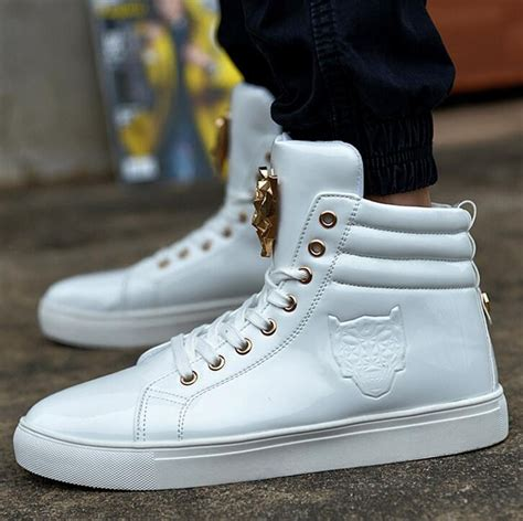 white high top sneakers mens new fashion high top casual shoes for pu leather lace