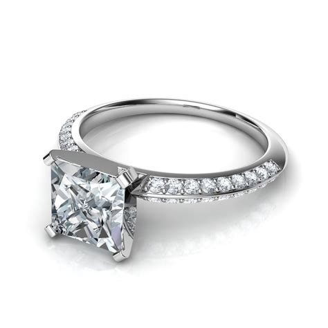 pave rings two row knife edge pav 233 engagement ring