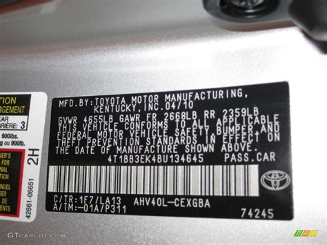 2011 camry color code 1f7 for classic silver metallic photo 50413681 gtcarlot
