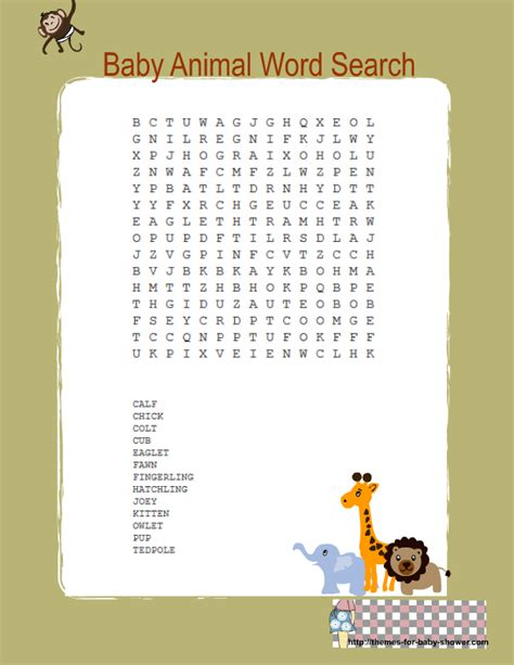 printable jungle word search free printable jungle baby shower word search game free