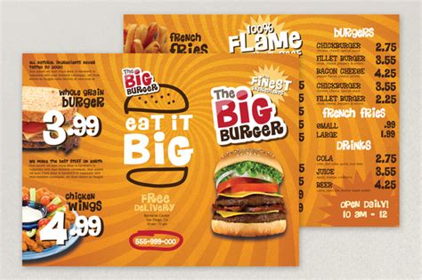 fast food menu design templates fast food menu template
