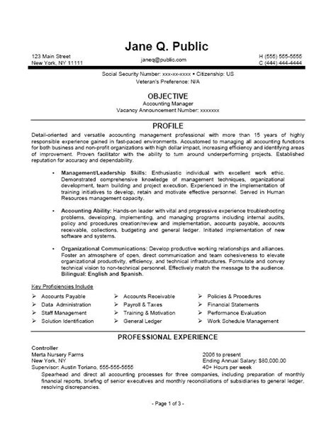 accounting manager resume accounting manager federal