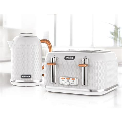 White Kettle And Toaster Sets Curve Jug Kettle And Toaster Set White And Rose Gold