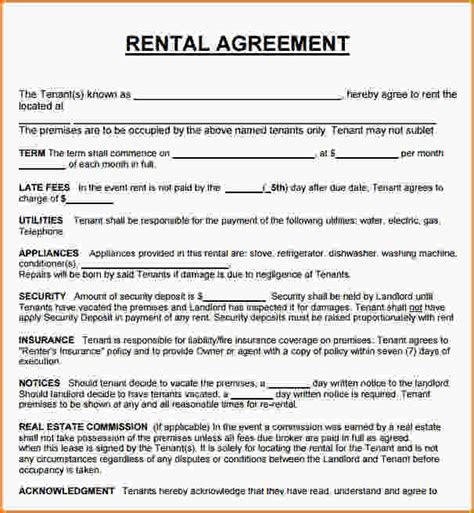 Agreement Letter For House Rent 13 Rental Agreement Contract Loan Application Form