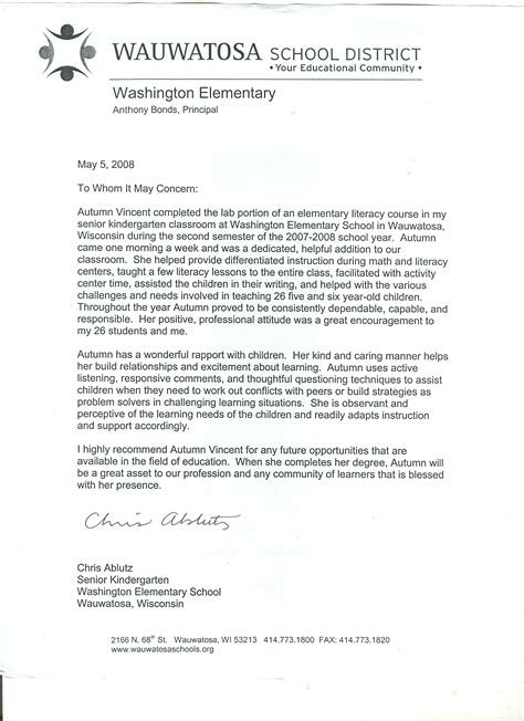 College Of Wisconsin Letter Of Recommendation Letters Of Recommendation And Certificates Autumn Vincent S Alverno College Education Portfolio