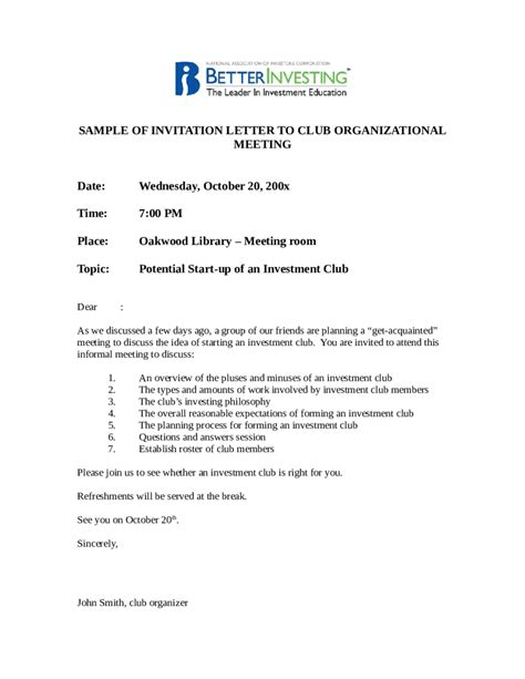 Invitation Letter For The Meeting 2017 Invitation Letter Sle Fillable Printable Pdf Forms Handypdf