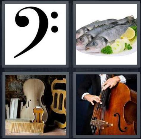 4 Letter Words Song 4 pics 1 word answer for clef fish instruments string