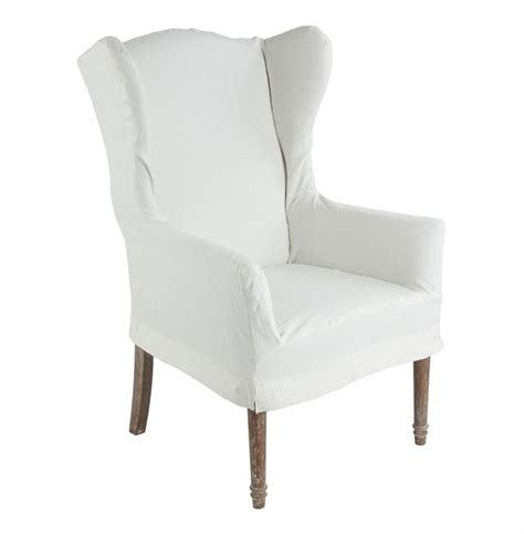 eli french country wing back dining arm chair slip cover