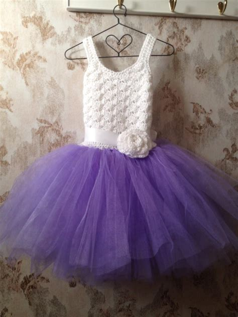 White Flower Crochet Dress purple and white flower dress toddler dress crochet