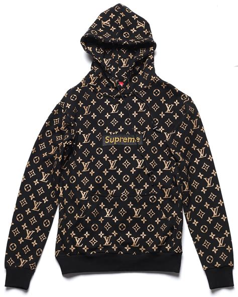 Supreme X Lv Sweater ua replica supreme x brand monogram hoodie in black
