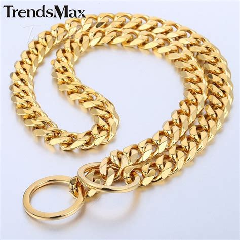 cuban link collar pet collar 316l stainless steel 13mm gold plated cut cuban curb link chain ebay