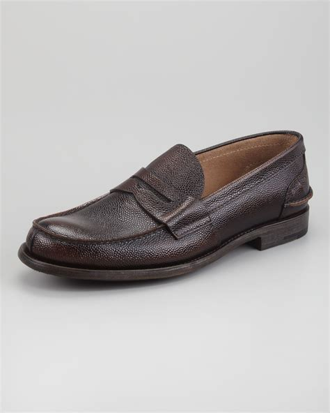 prada loafer prada pebbled spazzolato loafer in brown for lyst