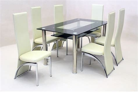 Dining Table And Chairs Black Black Glass Dining Table And 6 Faux Chairs In Homegenies