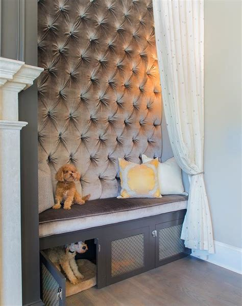 dog crate furniture bench gray tufted bench with built in dog crate transitional living room