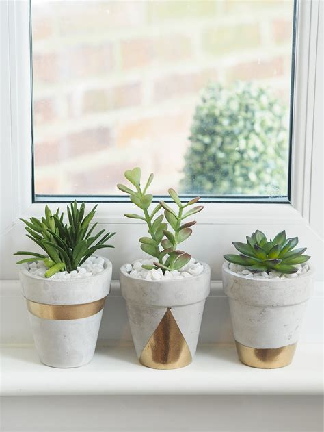 planters diy gold concrete succulent planters diy bang on style