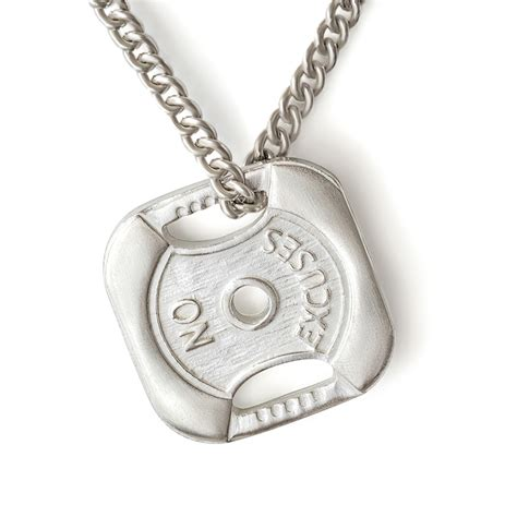 sterling silver weight plate necklace no excuses fit