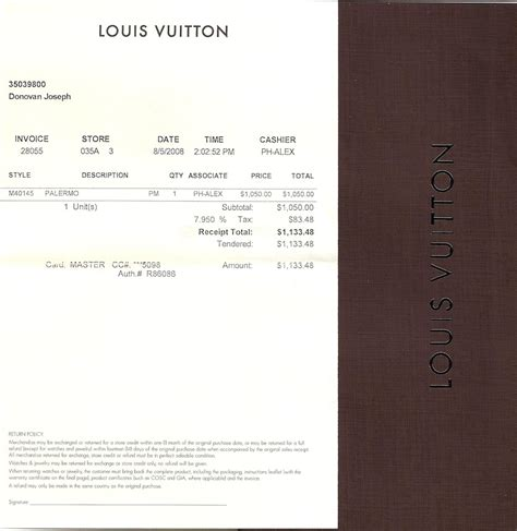 louis vuitton receipts templates sold lv palermo m40145 w receipt mint