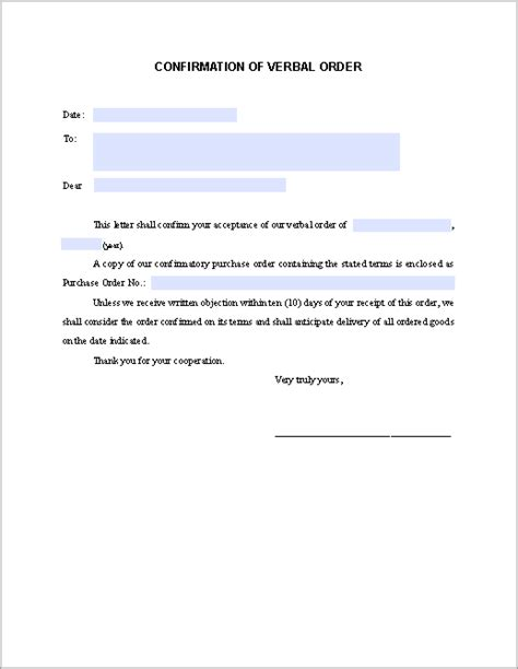 confirmation letter verbal order fillable forms