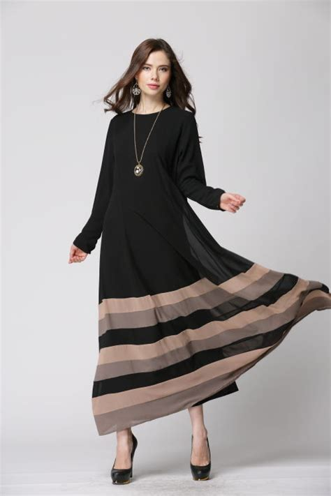 Maxi Trip Dress Busana Muslim muslim clothing stripe sleeve o neck pullover abaya