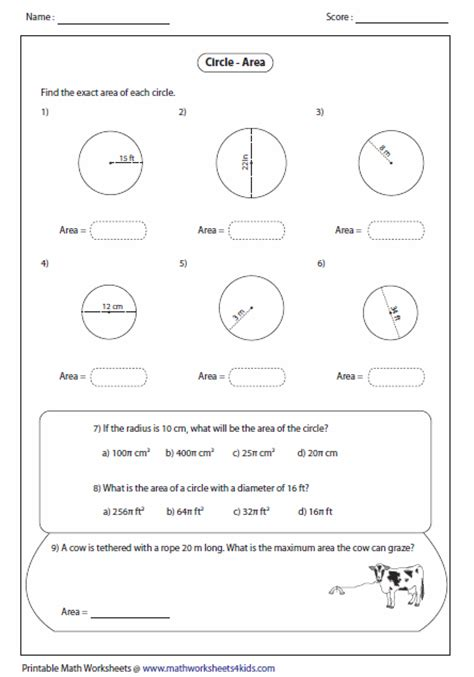 Circumference And Area Of A Circle Worksheet by Find The Circumference Of A Circle Worksheet Free