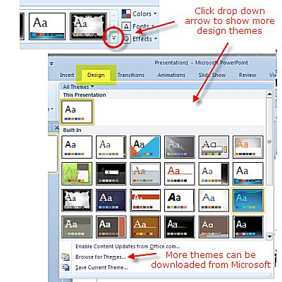 design themes in powerpoint 2010 presentations