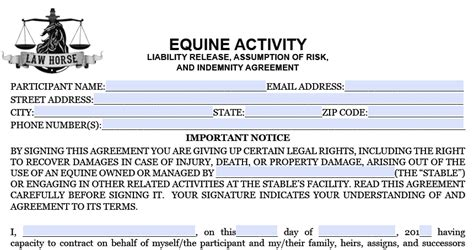 equine release form recreation llc waiver agreement and liability