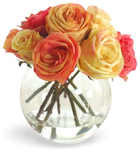 Orange Artificial Flowers In Vase by Faux Arrangement In Glass Vase Orange And Yellow