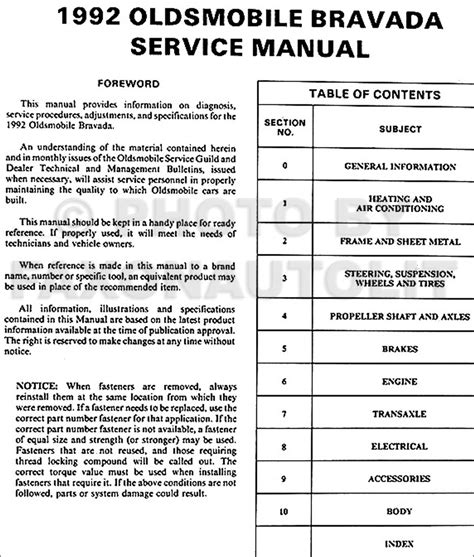free car repair manuals 1992 oldsmobile bravada electronic 1992 oldsmobile bravada repair shop manual original