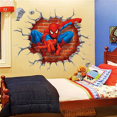 spiderman home decor 2015 3d spiderman wall stickers for kids rooms decals home