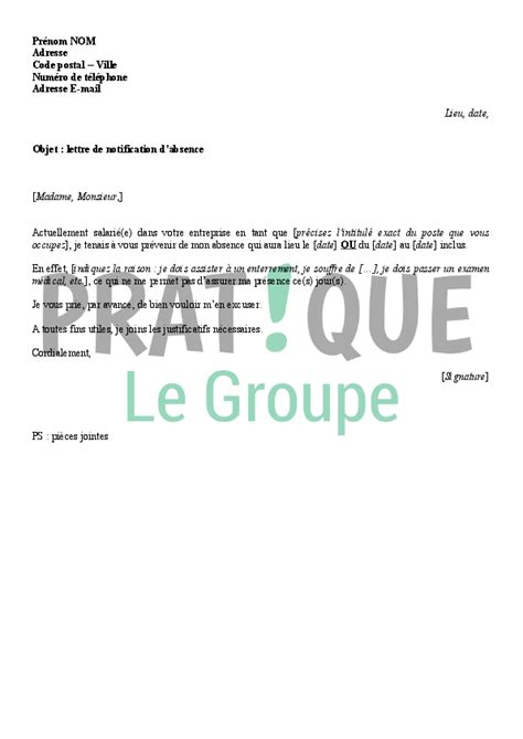 absence bureau lettre de notification d absence au bureau pratique fr
