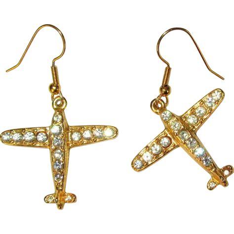 Plane Earrings rhinestone airplane earrings vintage from lakegirlvintage