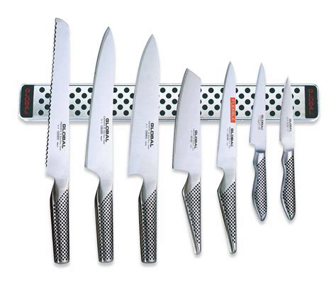 Global Knives 7 Piece Knife Set with Magnetic Wall Rack