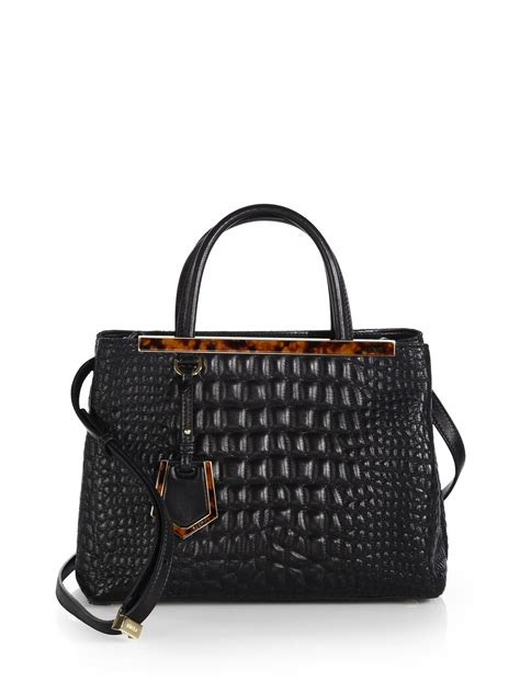 Fendi Leather Tote Set 2face 1 lyst fendi 2jours croc embossed leather mini tote in black